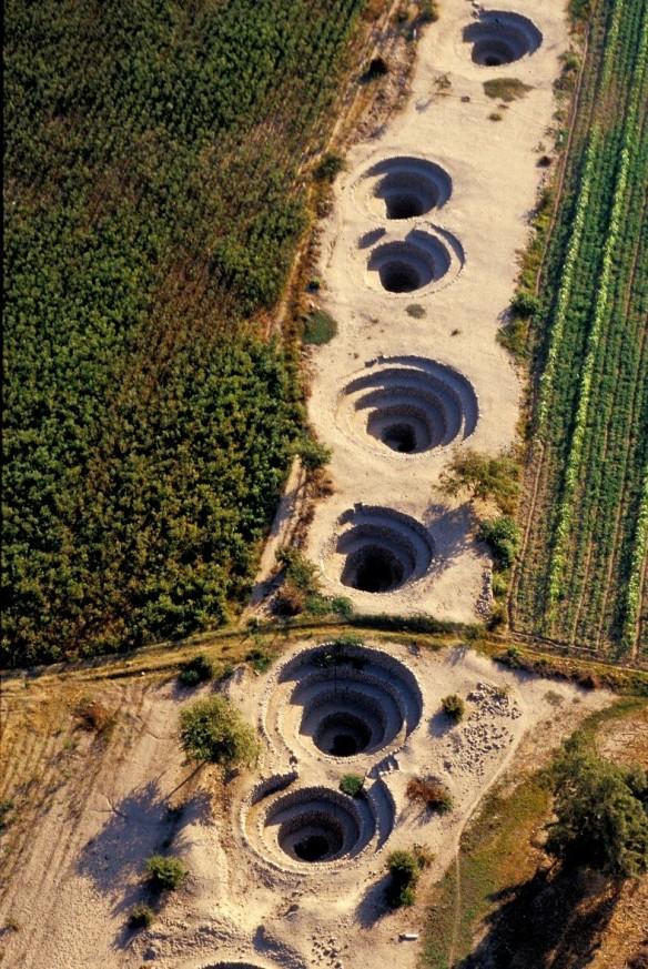 Vista aérea de los sistemas de acueductos de Nasca