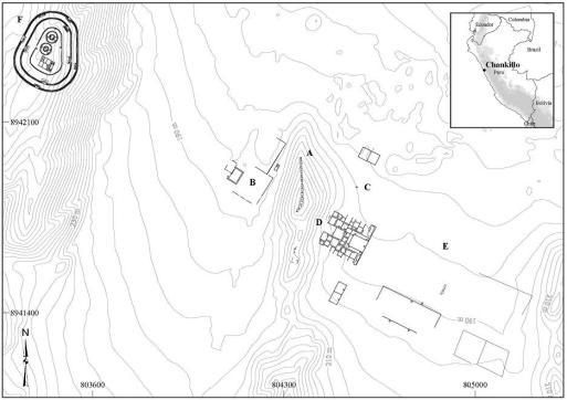 Mapa de Chankillo donde se observan: (A) trece torres; (B) observatorio oeste; (C) observatorio este; (d) Centro administrativo; (e) Plaza; (F) Fortaleza. Coordenadas expresadas en el sistema utm, zona 17l, datum World Geodetic system 1984.