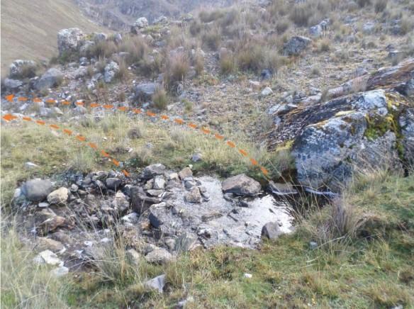 Figura 23. Vista detalle del origen del canal Huiru Catac. Bifurcación de la escorrentía.