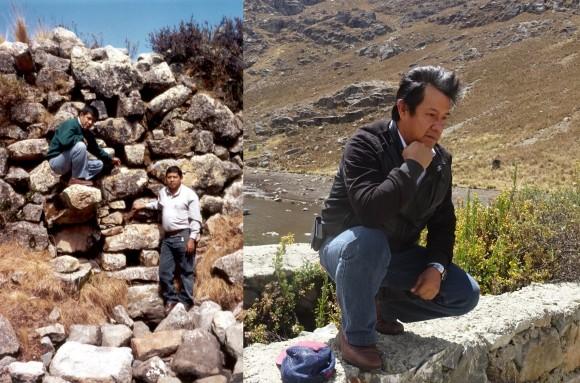Imagen izquierda en el año 2003, el autor de la nota, Ronald Ancajima acompañado del Ing. Tobias Aguirre. En la imagen derecha la muestra de pesar por la destrucción de nuestra cultura